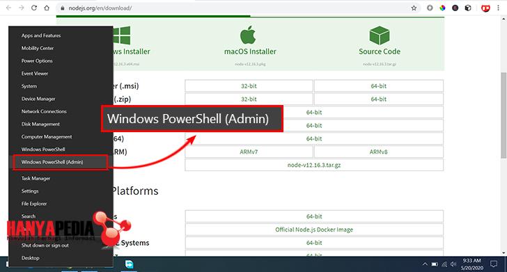 Verifikasi Node.js dan PNM dengan power shell