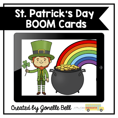 Math and ELA St. Patrick's Day Boom Cards are perfect for early childhood, Kindergarten or first grade to use during literacy or math centers, stations, rotations or post-assessment. The bundle of St. Patric's Daye Boom cards includes FREE sets. They can be used for face to face, virtual or remote learning for early elementary students. Students will love these self checking activities. Click to learn more about Boom Learning and Boom Cards. (preK, Kindergarten, homeschool, 1st grade) #kindergarten