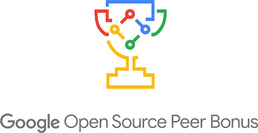 Image that says Google Open Source Peer Bonus with a graphic of a trophy with the open source logo inside