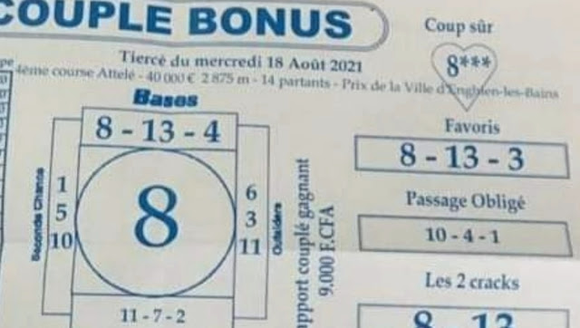 Pronostics quinté+ pmu mercredi Paris-Turf-100 % 18/08/2021