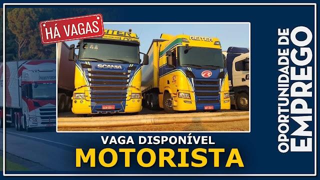Transportadora Reiter Log abre vagas para Motorista