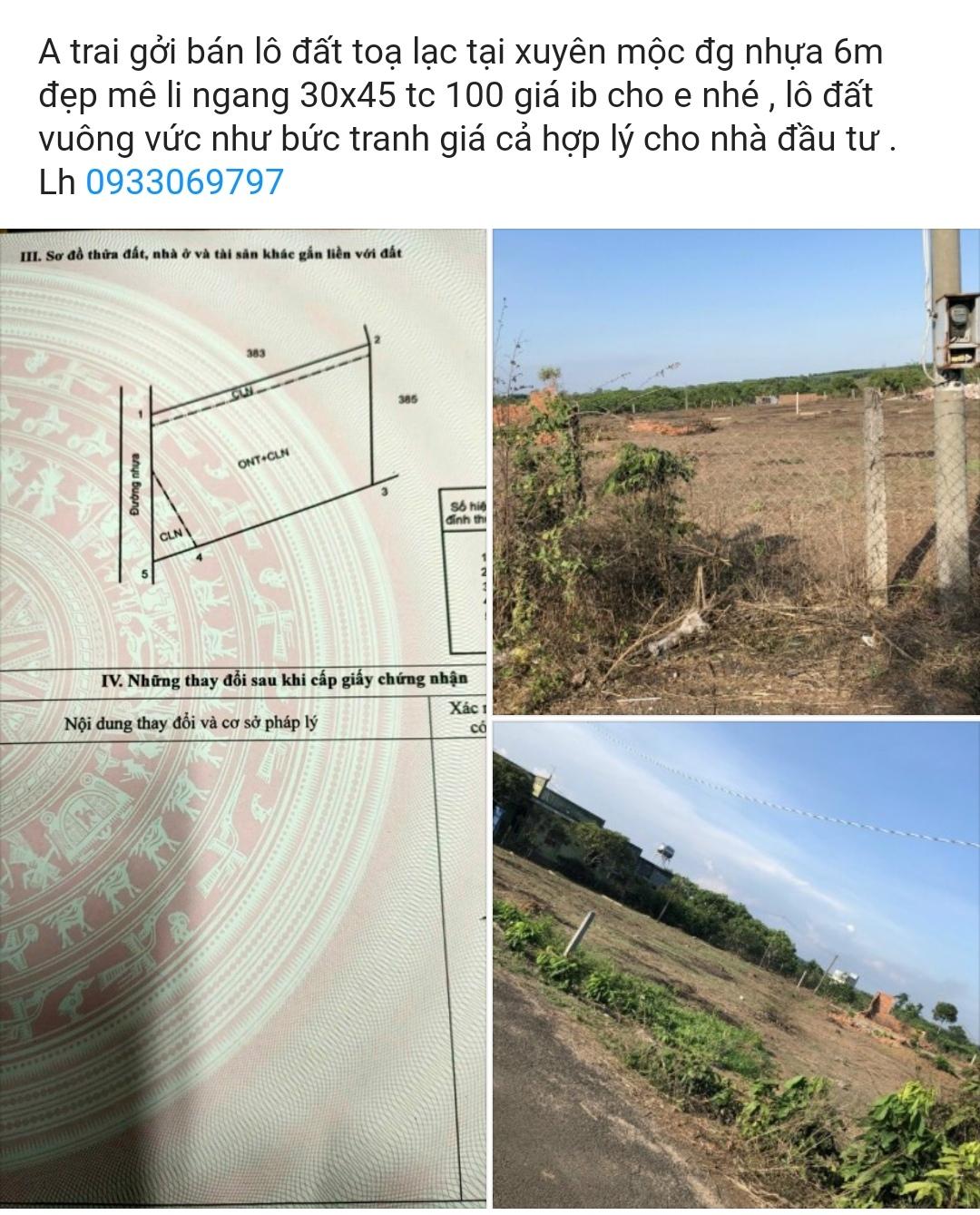 bán đất tại huyện xuyên mộc giá rẻ mặt tiền đường nhựa rộng 6m