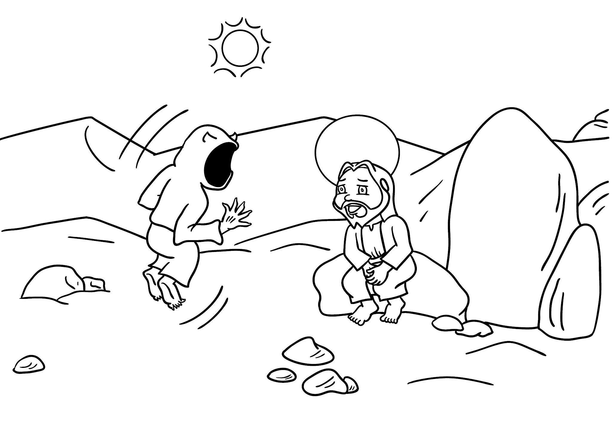Tentação de Jesus - para imprimir e colorir