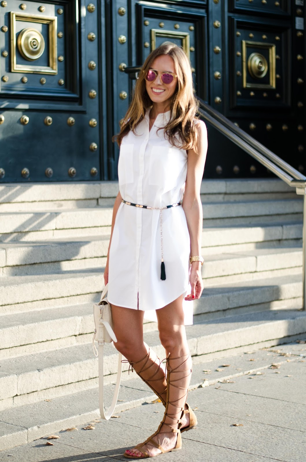kristjaana mere zara white sleeveless shirt dress summer outfit