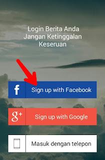 Sign up aplikasi Berita Saku dengan akun facebook