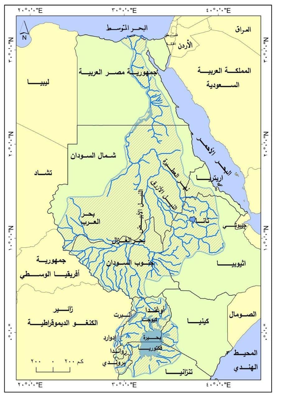 خريطة حوض نهر النيل وروافده