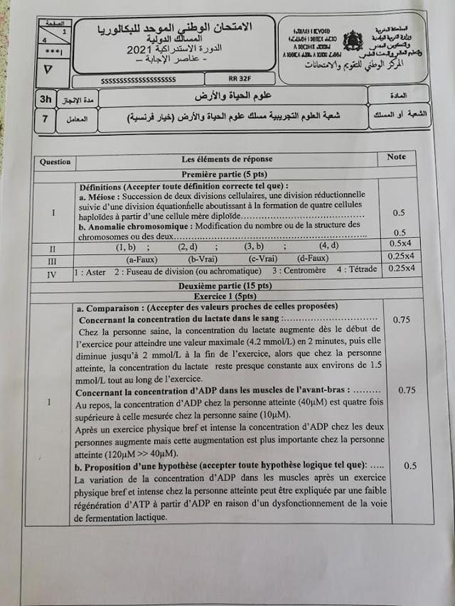 تصحيح الامتحان الوطني الموحد للباكالوريا الدورة الاستدراكية SVT-Biof