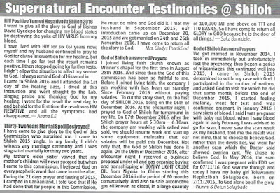Shiloh Encounter testimonies 2017/2018