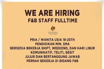 Lowongan Kerja Staff Fulltime F&B Cochoc Bandung