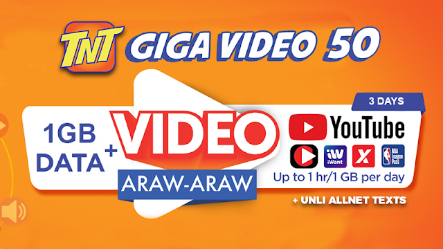TNT Giga Video 50 : 1GB Data + 1GB Free YouTube Everyday + Unli All Net Texts for 3 Days
