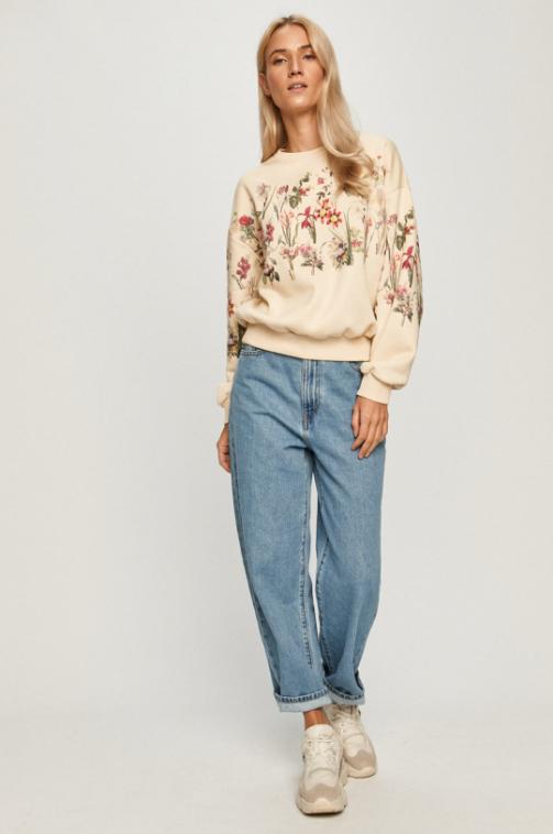 Desigual - Bluza femei crem cu imprimeuri florale