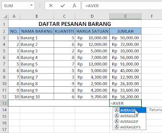 Contoh membuat rumus fungsi di Excel