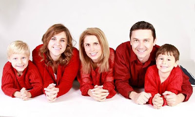 happy family in red dress all full HD