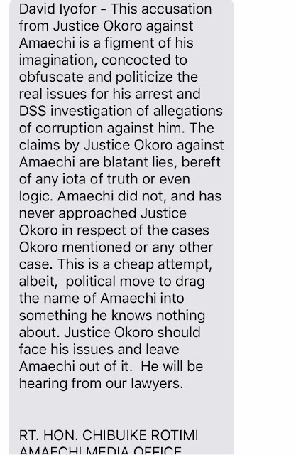 ROTIMI AMAECHI OPENS CAN OF WORMS AGAINST ARRESTED JUSTICE JOHN OKORO AFTER HE EXPOSED AMAECHI FOR BRIBERY (MORE DETAILS)
