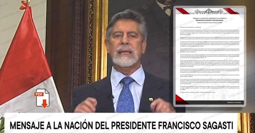 MENSAJE A LA NACIÓN: Texto completo del Mensaje a la Nación del Presidente Sagasti (23 Noviembre) DESCARGAR .PDF