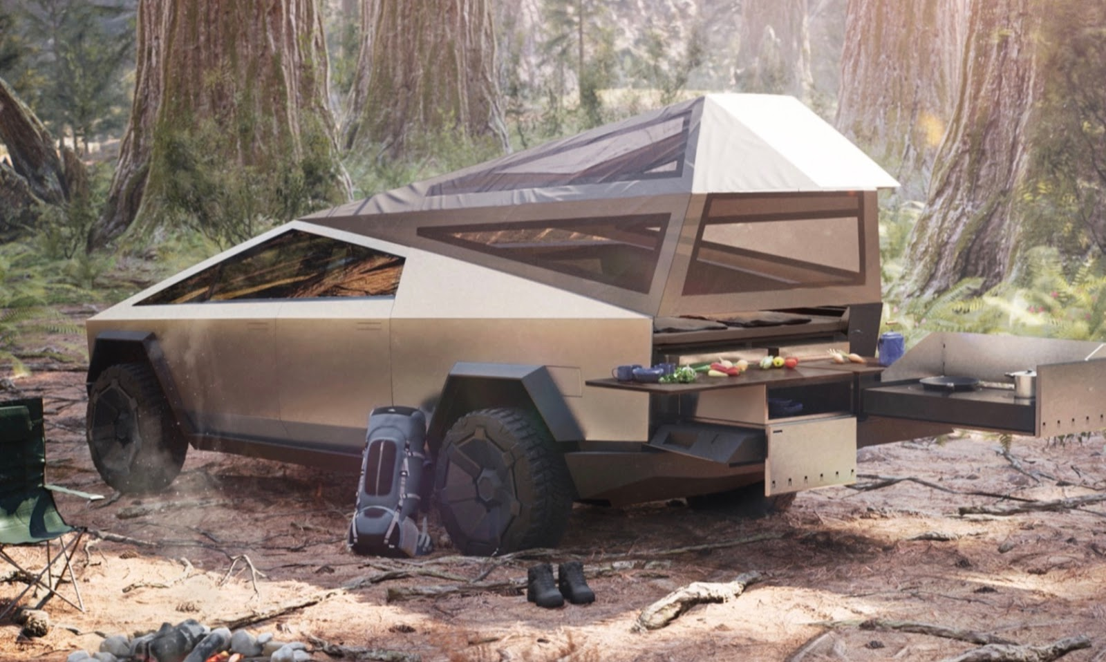 Tesla cybertruck used for camping and tailgate