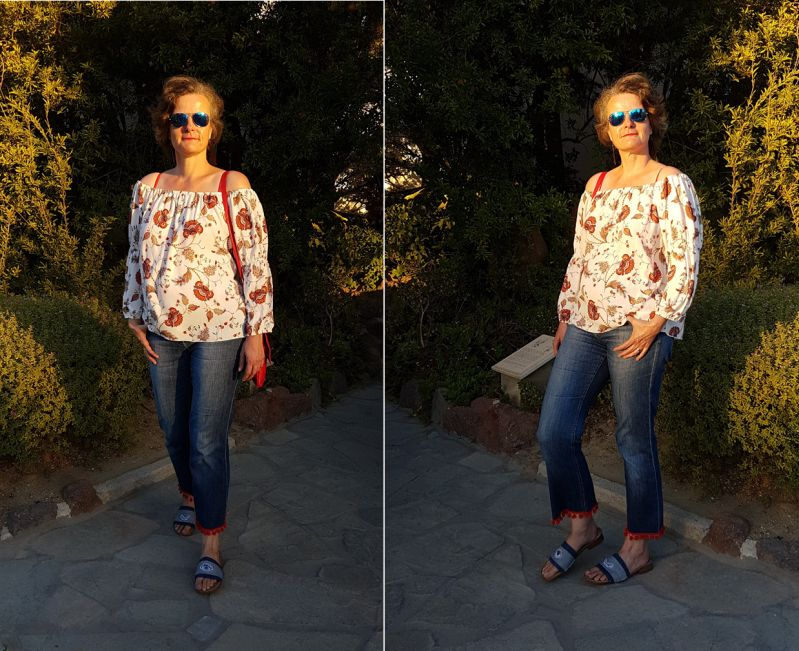 Off-Shoulder-Tunika, cropped Jeans und gepatchte Schlappen