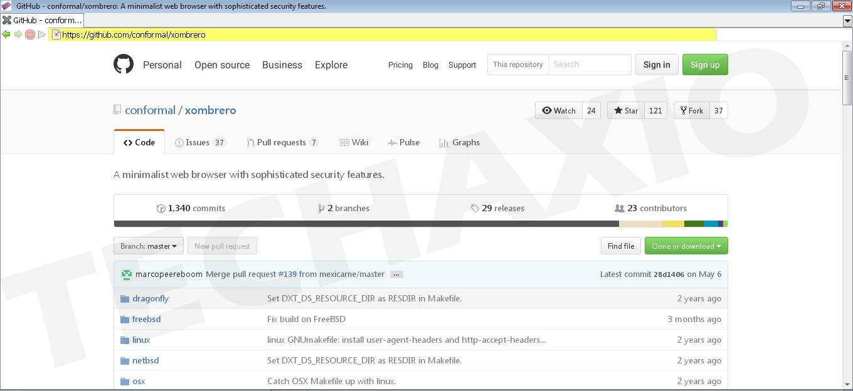 Xombrero Browser Screenshot