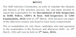 SSC CPO New Exam date 2016