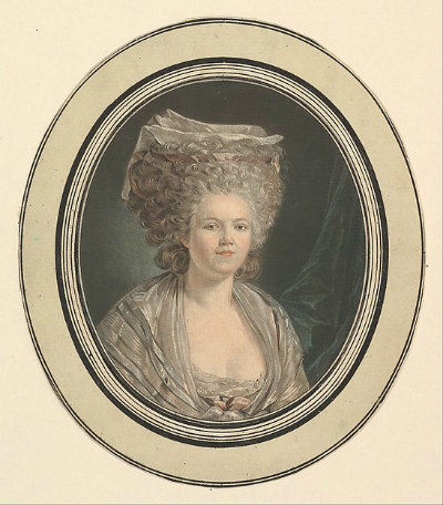 Etching of Rose Bertin in elaborate headdress
