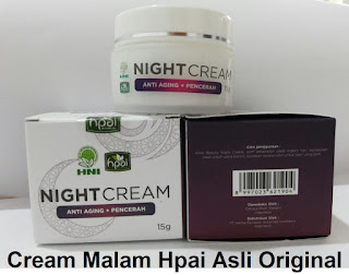 Night Cream hpai krim perawatan malam hari pemutih penghilang jerawat