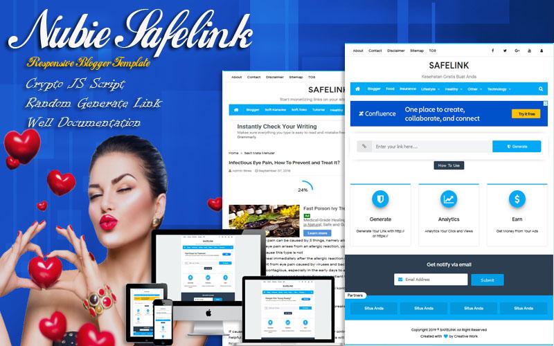 Nubie Safelink Responsive Blogger Template - Responsive Blogger Template