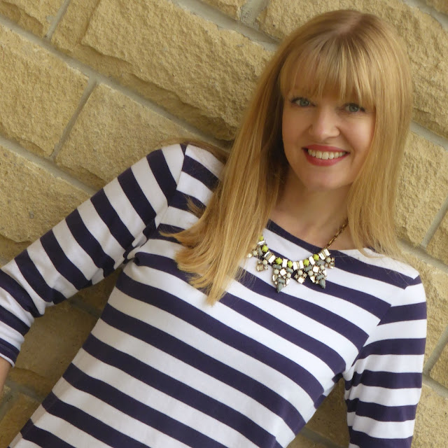 What Lizzy Loves wearing breton top and Happiness Boutique statement necklace