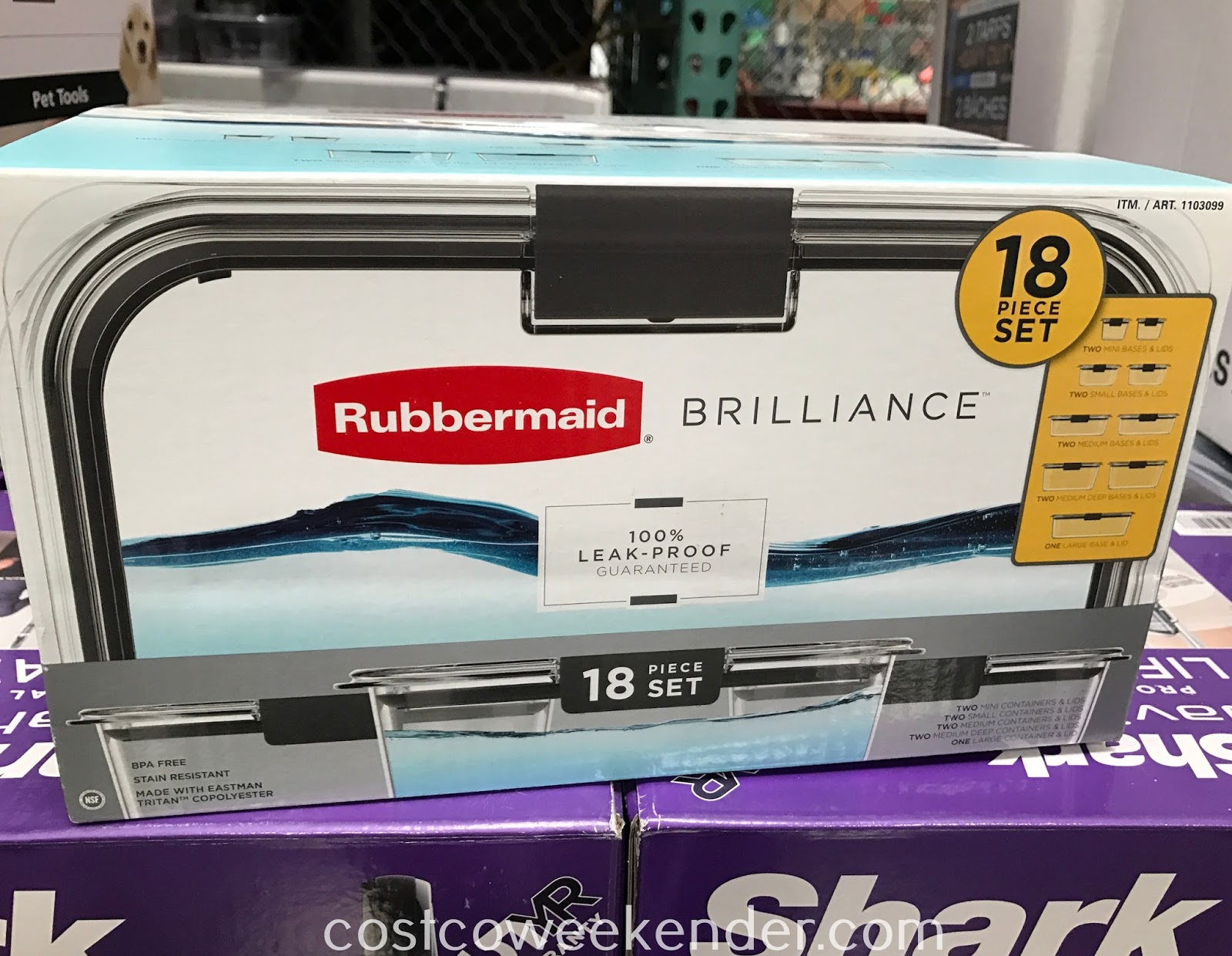 Store food and leftovers in the Rubbermaid Brilliance 18pc Food Storage Set