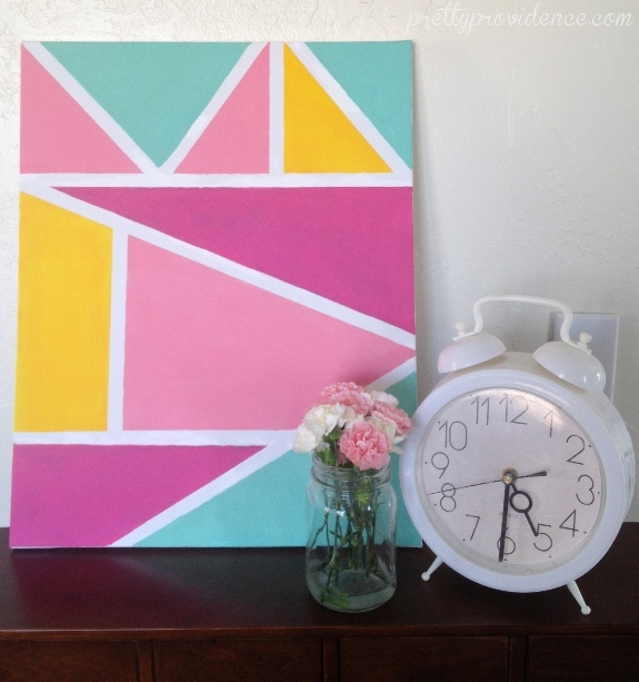 Diy geometric wall art pretty providence Painting geometric patterns on walls