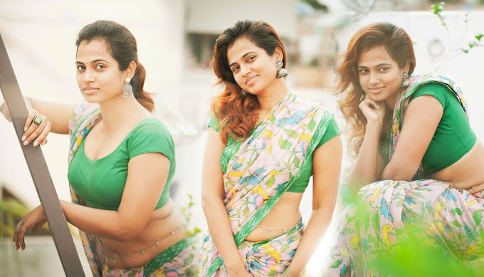 Actress Ramya Pandian Hot Pics stills in saree