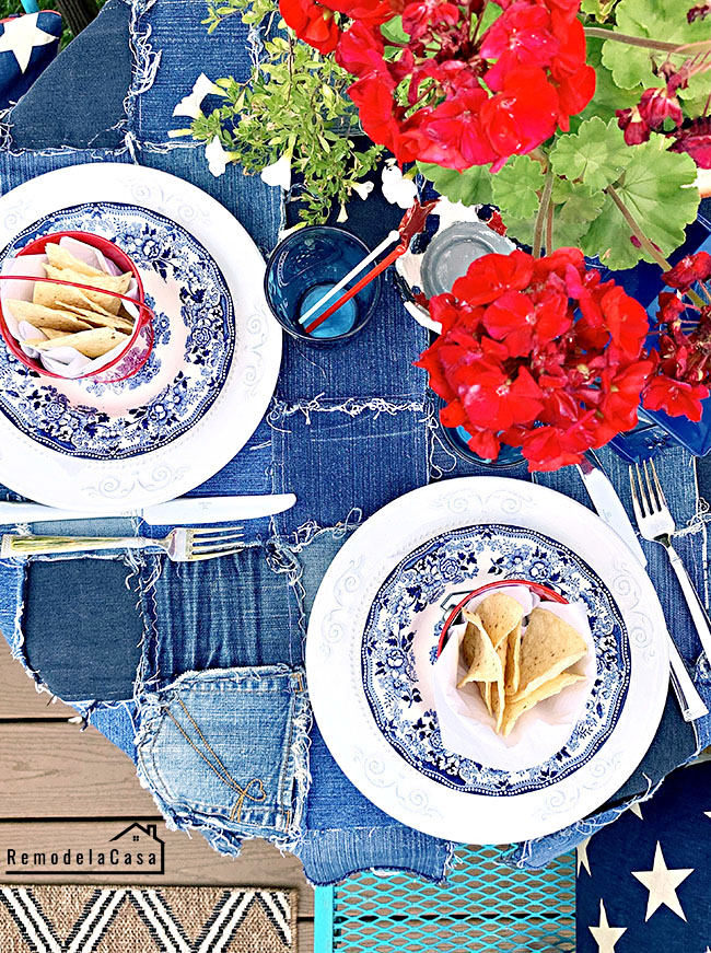 how to repurpose jeans into a tablecloth