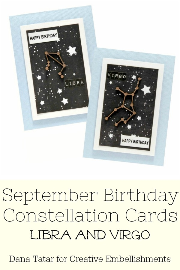 September Birthday Chipboard Libra and Virgo Constellation Cards with Heat Embossed Star Galaxy Background