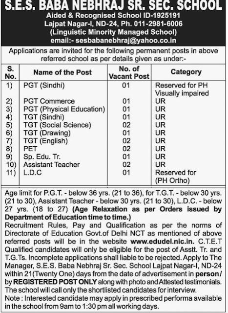 SES Baba Nebhraj School Vacancy 2017 PGT, TGT, PET, SET, Teacher & LDC