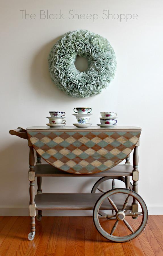 Hand painted vintage tea cart.