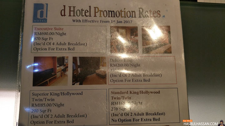 Harga Penginapan di D'Hotel Seri Iskandar