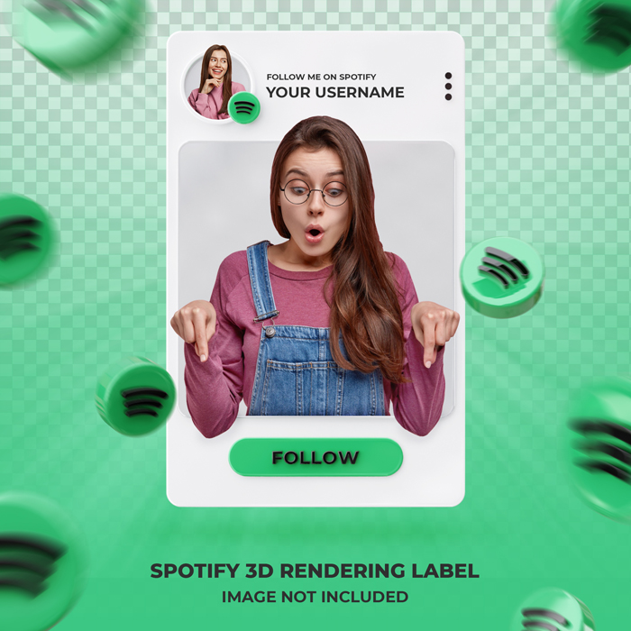 Banner Icon Spotify Profile 3D Rendering Label Template