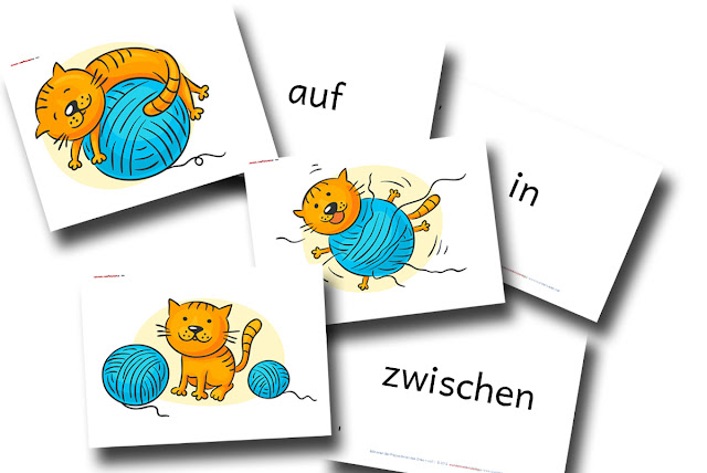 DaZ Material Bildkarten Präpositionen kostenlos