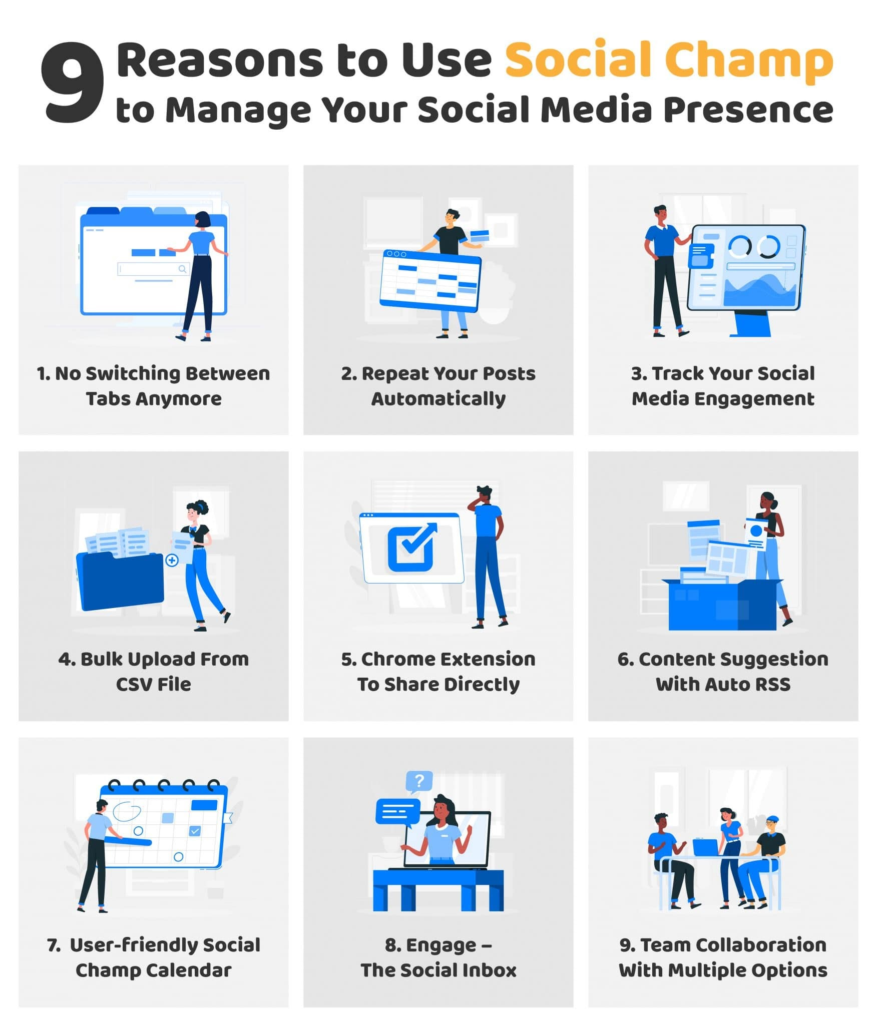 9 Reasons to use social champ to manage your social media presence #Infographic