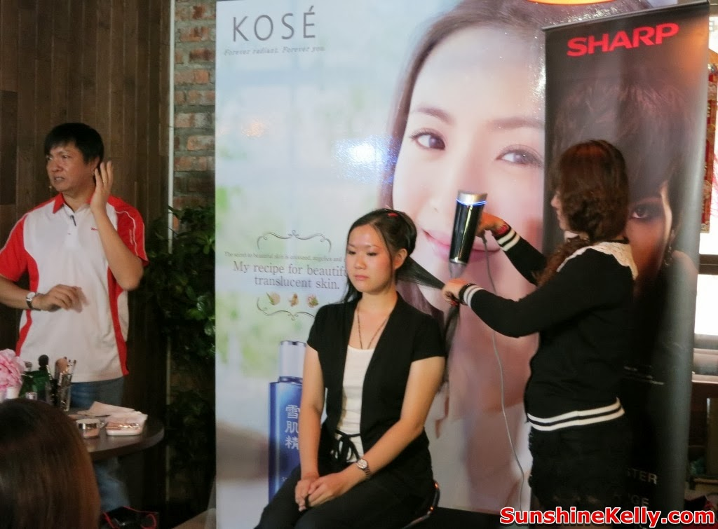 Kose  Sharp Pre CNY Beauty Workshop, cny2014, beauty workshop, kose, sharp, kose sekkisei, makeup, skincare, sharp ion plasmacluster, conditioning hair dryer, hair dryer demo