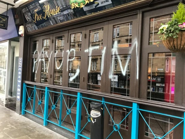Graffiti sprayed onto Wetherspoons pub in Glasgow
