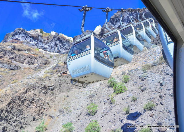 cable car in Fira santorini