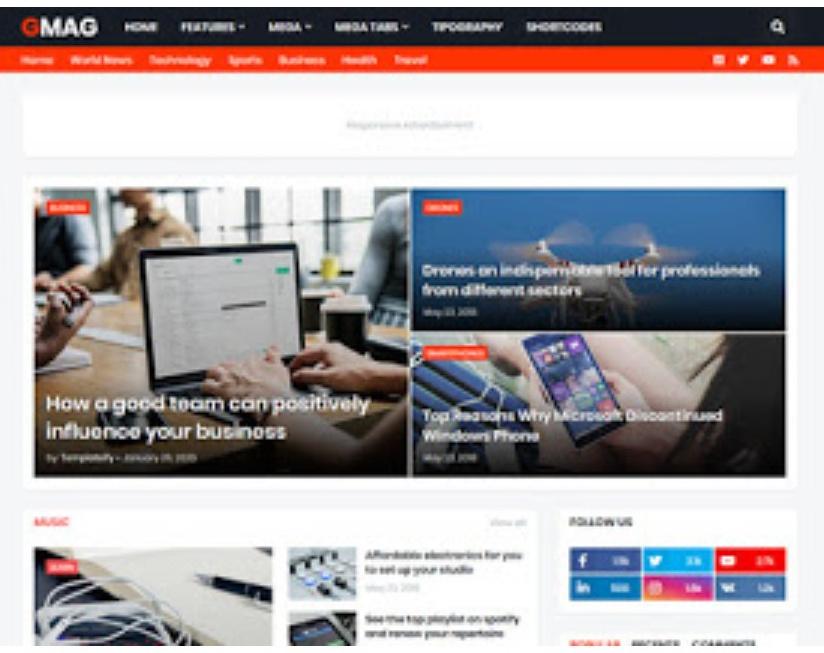 GMag Premium Magazine Blogger Template Free Download