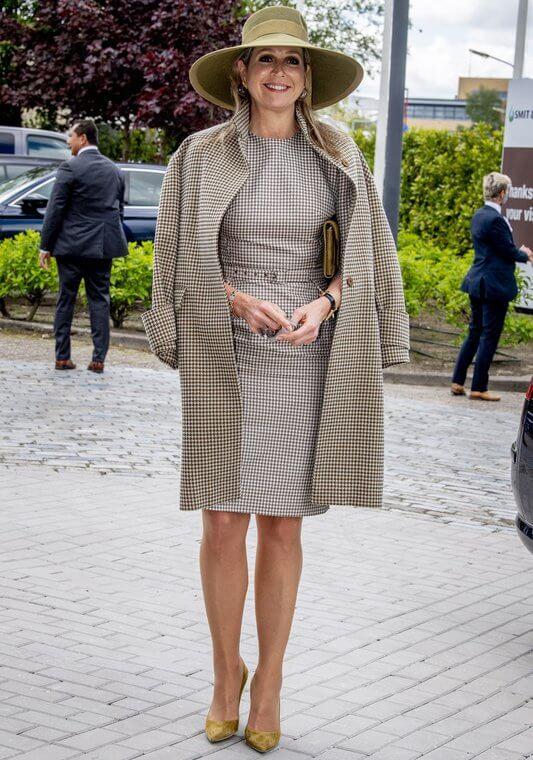 Queen Maxima wore a coat and dress from Natan, and yellow suede pumps from Gianvito Rossi, floral gold earrings