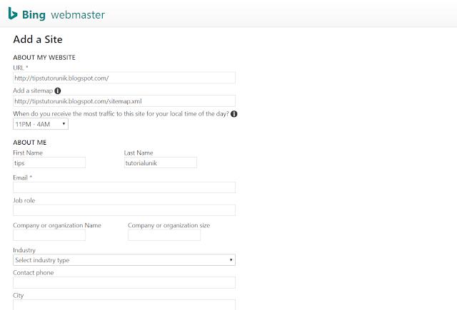 cara daftar di bing webmaster tools