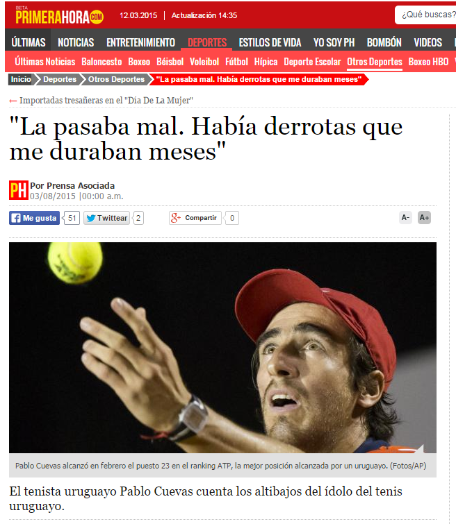 Semblanza de Pablo Cuevas en Associated Press