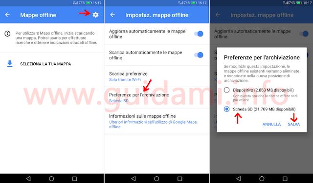 Impostazioni Mappe offline di Google Maps