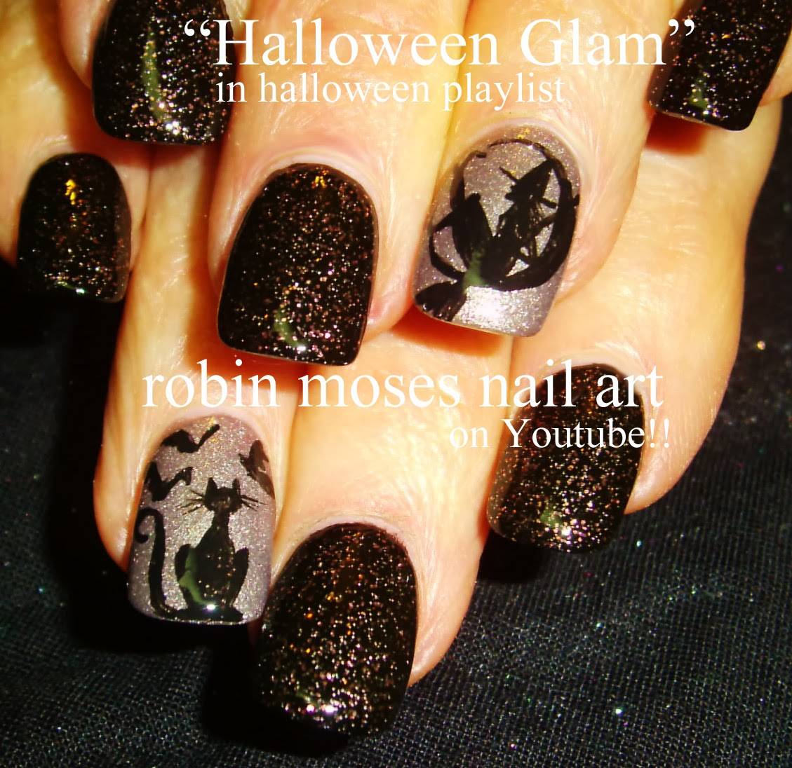 Nail art by robin moses halloween nails witch nails ghost halloween glam witch cat nail art solutioingenieria Choice Image
