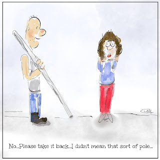 Cartoon in which a builder arrives with a pole, when the person wanted a poll.