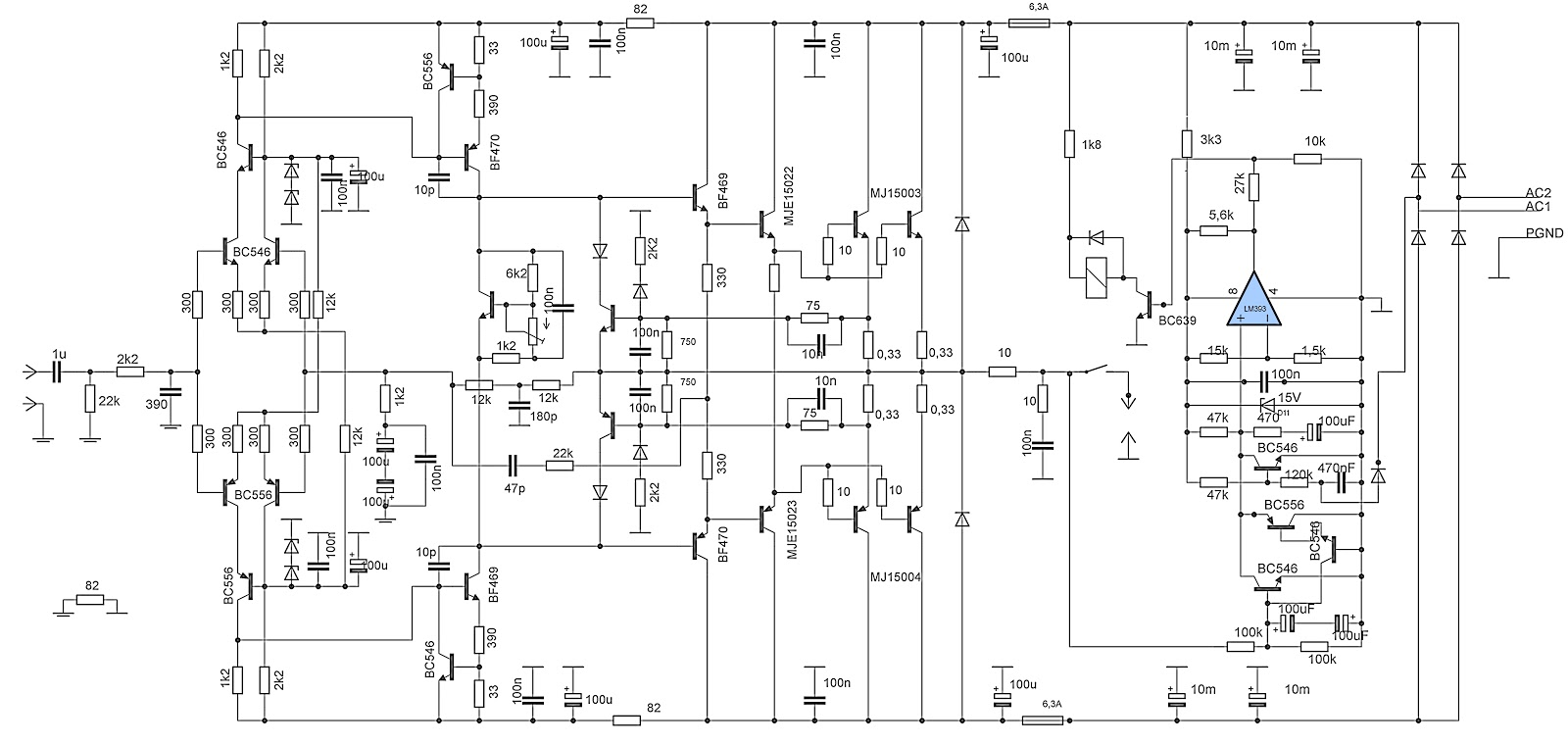 medium resolution of 275w rms power amplifier electronic circuit rh elcircuit com 5000w audio power amplifier circuit high power amplifier schematics