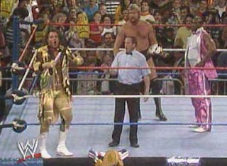 WWF / WWE: Wrestlemania 5 - The Million Dollar Man (with Virgil) gets ready to battle Brutus 'The Barber' Beefcake